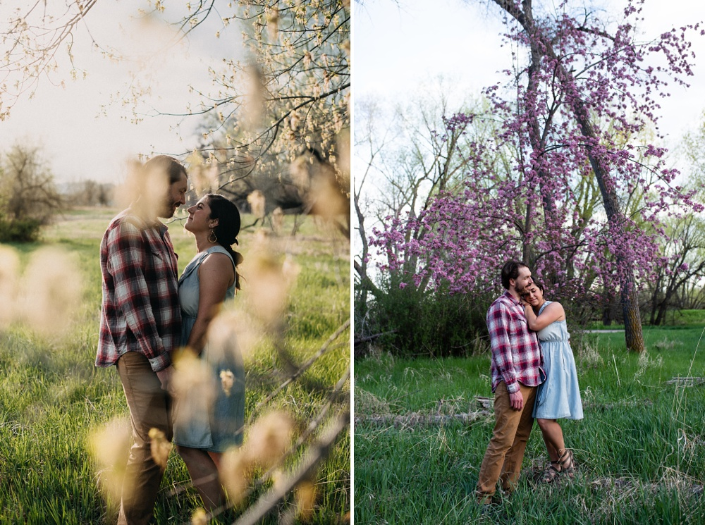 A young engaged couple at an engagement session at Lee Martinez Park in Fort Collins, Colorado. Engagement portrait photography by Sonja Salzburg of Sonja K Photography.