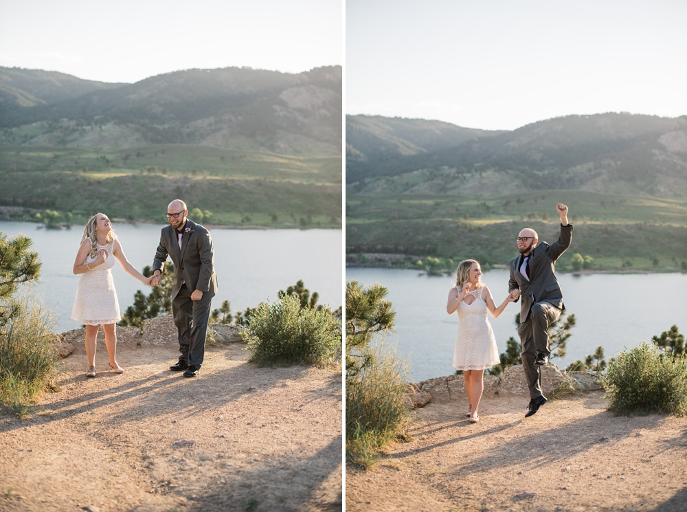 A newly married couple at an elopement at Horsetooth Reservoir outside of Fort Collins, Colorado. Elopement wedding photography by Sonja Salzburg of Sonja K Photography.