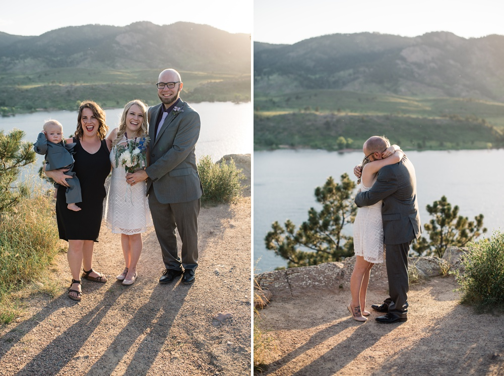 A couple gets married at a small elopement ceremony at Horsetooth Reservoir outside of Fort Collins, Colorado. Elopement wedding photography by Sonja Salzburg of Sonja K Photography.