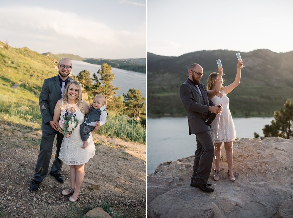 A young family at their elopement wedding at Horsetooth Reservoir outside of Fort Collins, Colorado. Wedding photography by Sonja Salzburg of Sonja K Photography.