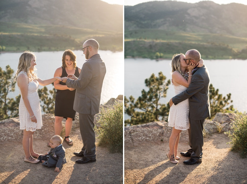 A young couple at their wedding ceremony at Horsetooth Reservoir outside of Fort Collins, Colorado. Wedding photography by Sonja Salzburg of Sonja K Photography.