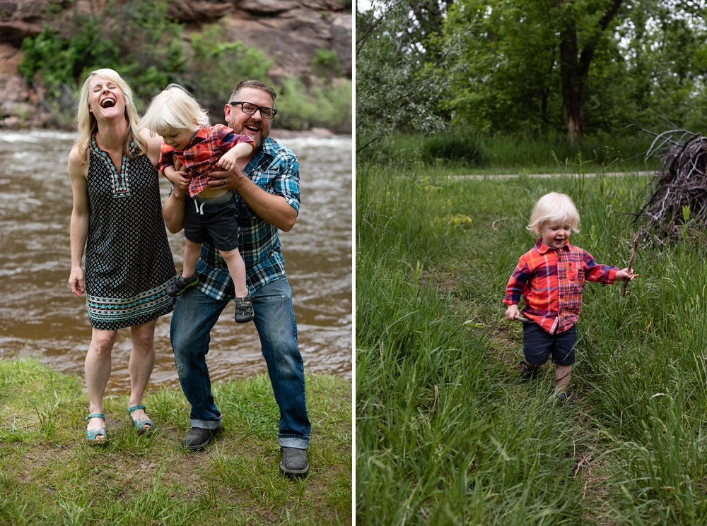A happy family along the Poudre River at Watson Lake near Fort Collins, Colorado. Family portrait photography by Sonja Salzburg of Sonja K Photography.