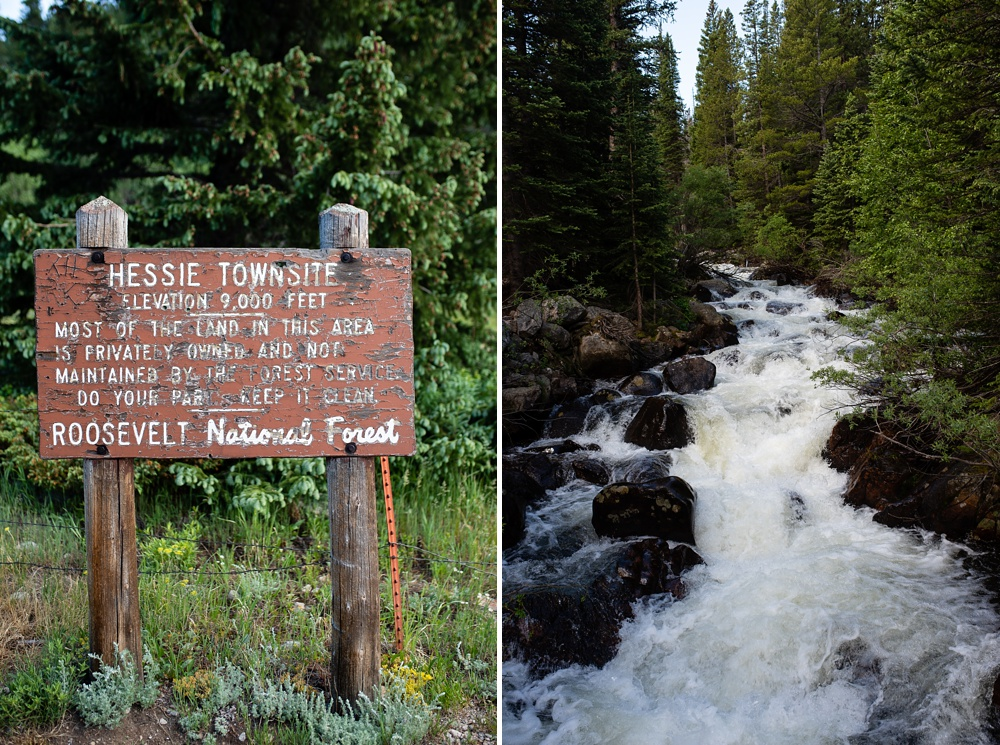 The sign for the Hessie town site and the river in the Indian Peaks Wilderness in Colorado. Outdoor event photography by Sonja Salzburg of Sonja K Photography.