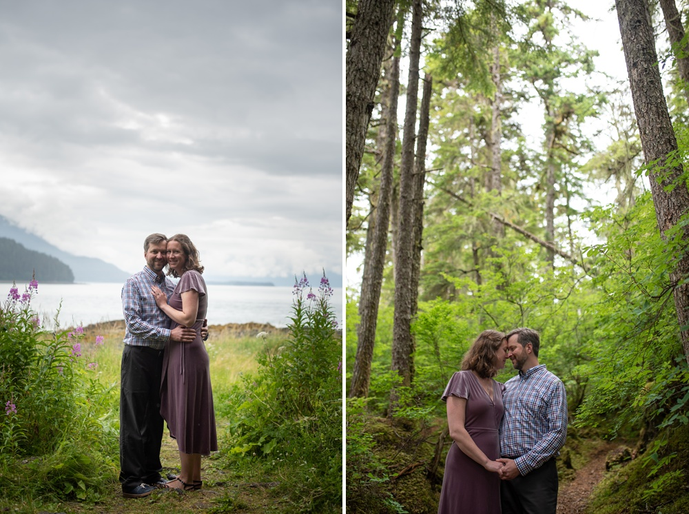 A young engaged couple around Juneau, Alaska. Engagement portrait photography by Sonja Salzburg of Sonja K Photography.