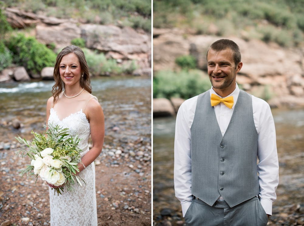 A bride and groom on their wedding day by the Cache la Poudre River outside of Fort Collins, Colorado. Wedding portrait photography by Sonja Salzburg of Sonja K Photography.