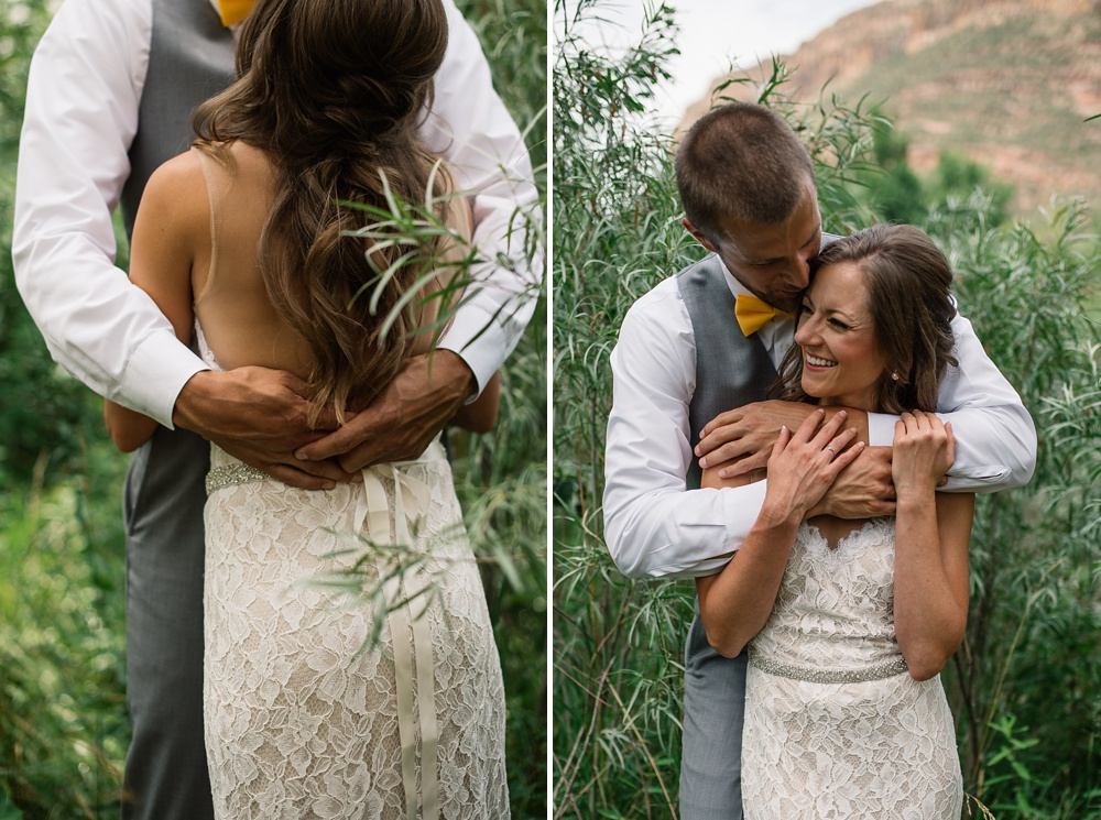 A married couple on their wedding day at Watson Lake outside of Laporte, Colorado. Wedding photography by Sonja Salzburg of Sonja K Photography.