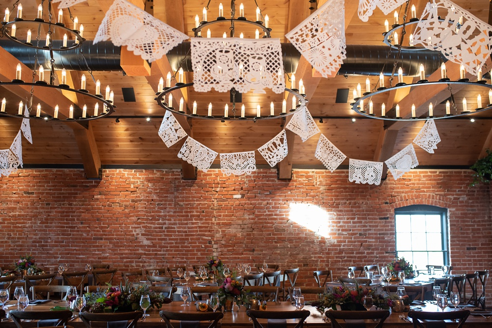 The Mill Top prepared for a wedding at Ginger and Baker in Fort Collins, Colorado. Wedding detail photography by Sonja Salzburg of Sonja K Photography.