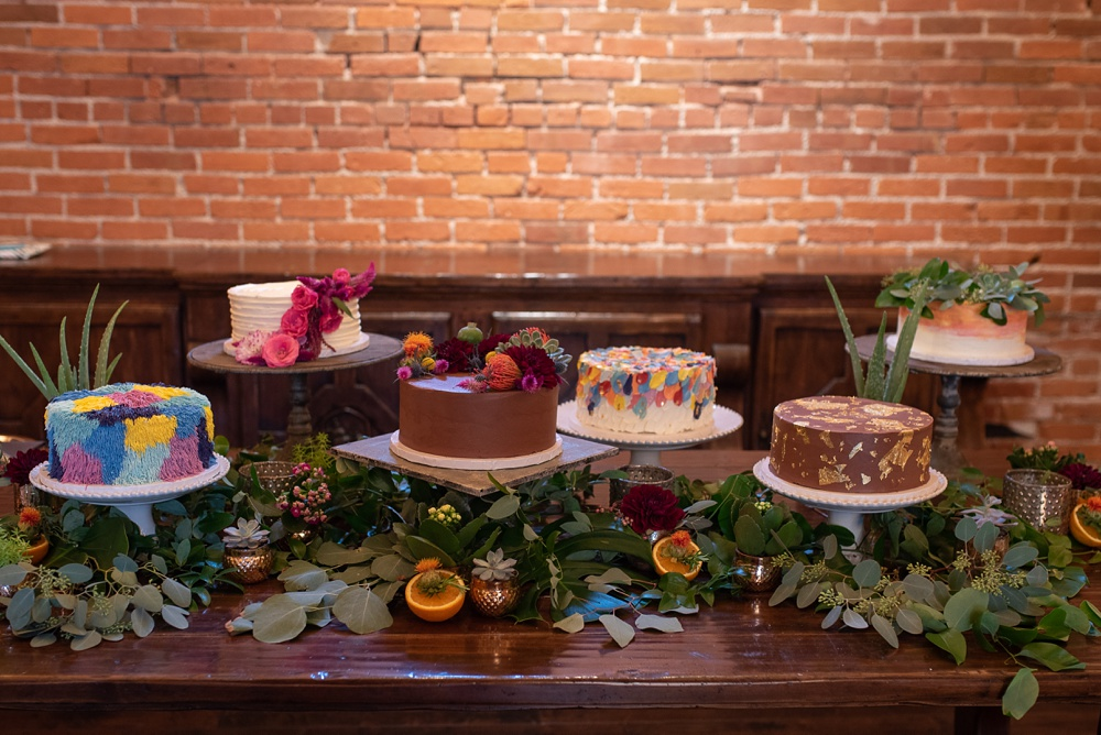Cakes baked by chef Rachel Magaña of Ginger and Baker. Wedding detail photography by Sonja Salzburg of Sonja K Photography.
