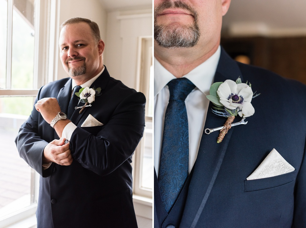 A groom on his wedding day and a boutonniere by Painted Primrose at a wedding at Wedgewood Wedding Boulder Creek outside of Boulder, Colorado. Wedding photography by Sonja Salzburg of Sonja K Photography.