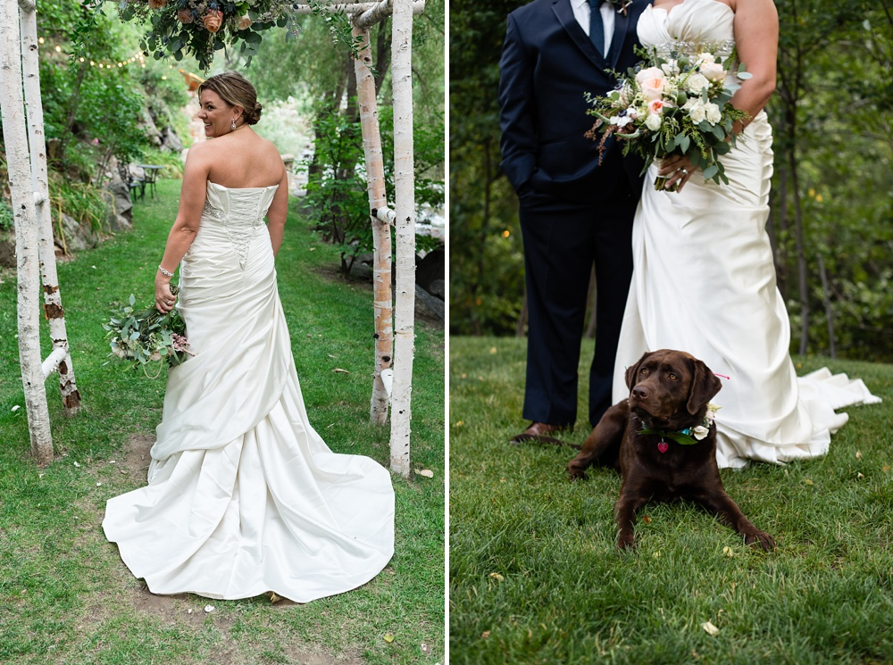 A bride, groom, and their dog on their wedding day at Wedgewood Weddings Boulder Creek outside of Boulder, Colorado. Wedding portrait photography by Sonja Salzburg of Sonja K Photography.