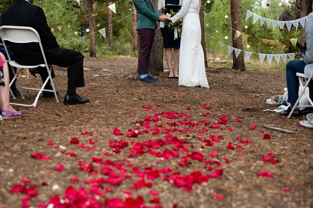 Rose petals on the aisle at a lesbian wedding outside of Fraser, Colorado. Gay wedding photography by Sonja Salzburg of Sonja K Photography.
