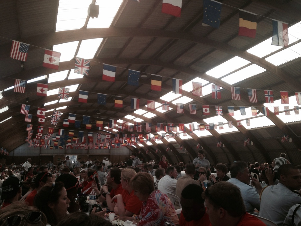 Guest from all over the world join together for dinner in Sainte Mere Eglise