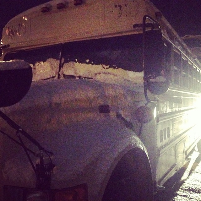 bus' first Hamilton snow