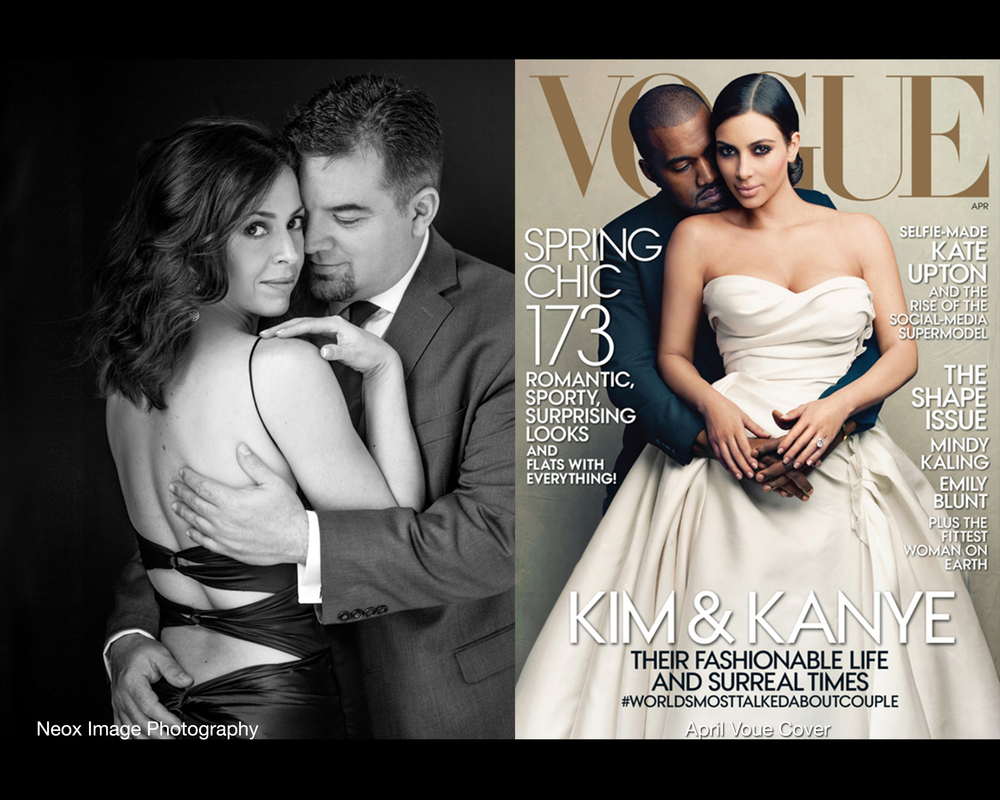 GIna and Richard photographed in similar pose to that of Kim Kardashian and Kanye West, seen on the cover of vogue