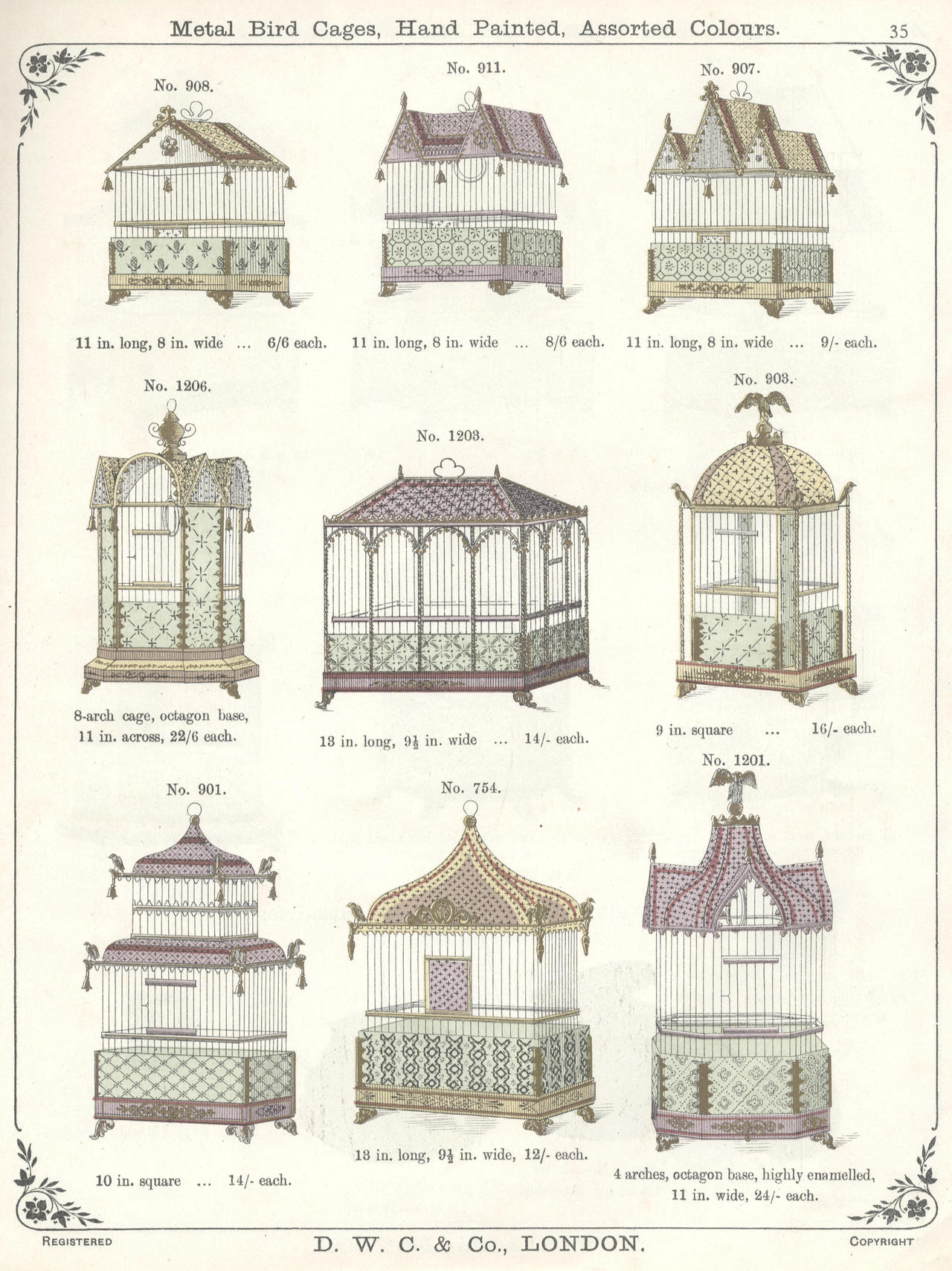 thingsmagazine :      Metal Bird Cages, Hand Painted, Assorted Colours , 1903     Secretly got a thing for birdcages.