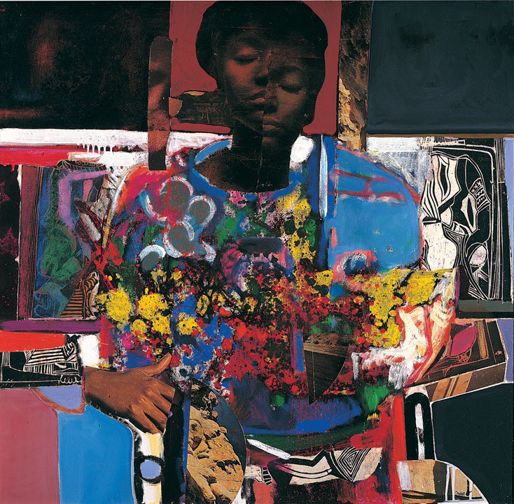 andrewharlow: David Driskell  Woman with Flowers, 1972 Oil and collage on canvas Royalty.