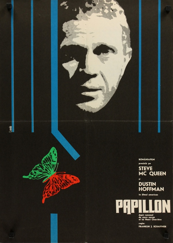foreignmovieposters :      Papillon  (1973). Romanian poster by Leonida.