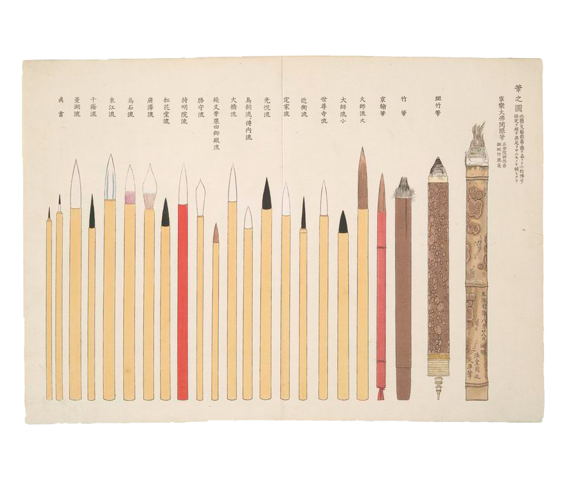 design-is-fine :      Yoshiyuki   Hagino,   illustration of writing brushes, 1868. Colored woodcut. Japan.  NYPL
