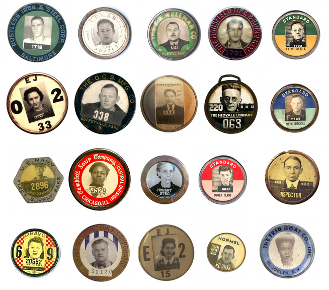 thetypologist :     Typology of vintage employee photo ID badges.  Mark Michaelson . via  designobserver .     Second row, fourth from the left. Fester.