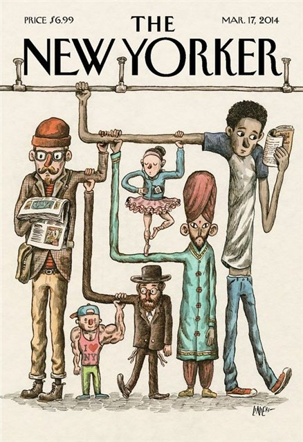 beautifulmagazinecovers :     The New Yorker   Marzo 2014   Autor: Liniers     Look at us…reading.