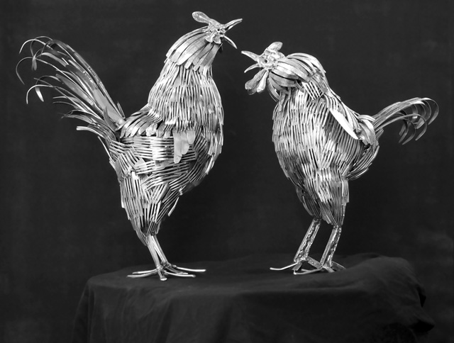 laughingsquid :      Fantastic Animal Sculptures Made out of Welded Flatware