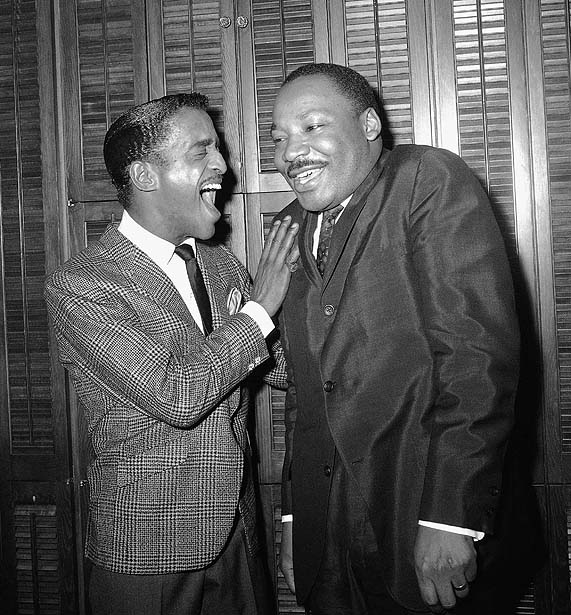 awesomepeoplehangingouttogether: Sammy Davis Jr. and Martin Luther King Jr. Royalty, laughing.