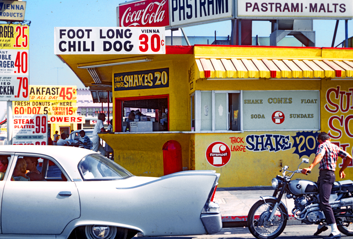 wandrlust: Lincoln and Pico, 1966 — Denise Scott Brown Sometimes I wish I was alive during this time, just for the color palette. But not for the dogs and hoses and general hatred of the fact that my skin is brown. Not worth being seen as secondary just for some primary colors.