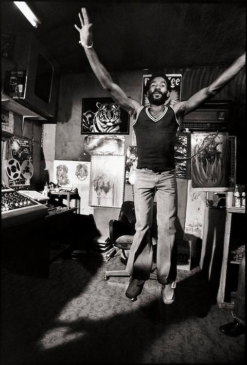 "nightthief :     Lee ""Scratch"" Perry at the Black Ark Studio.   Photo by David Burnett  (via  Reggae Studios )     Royalty."