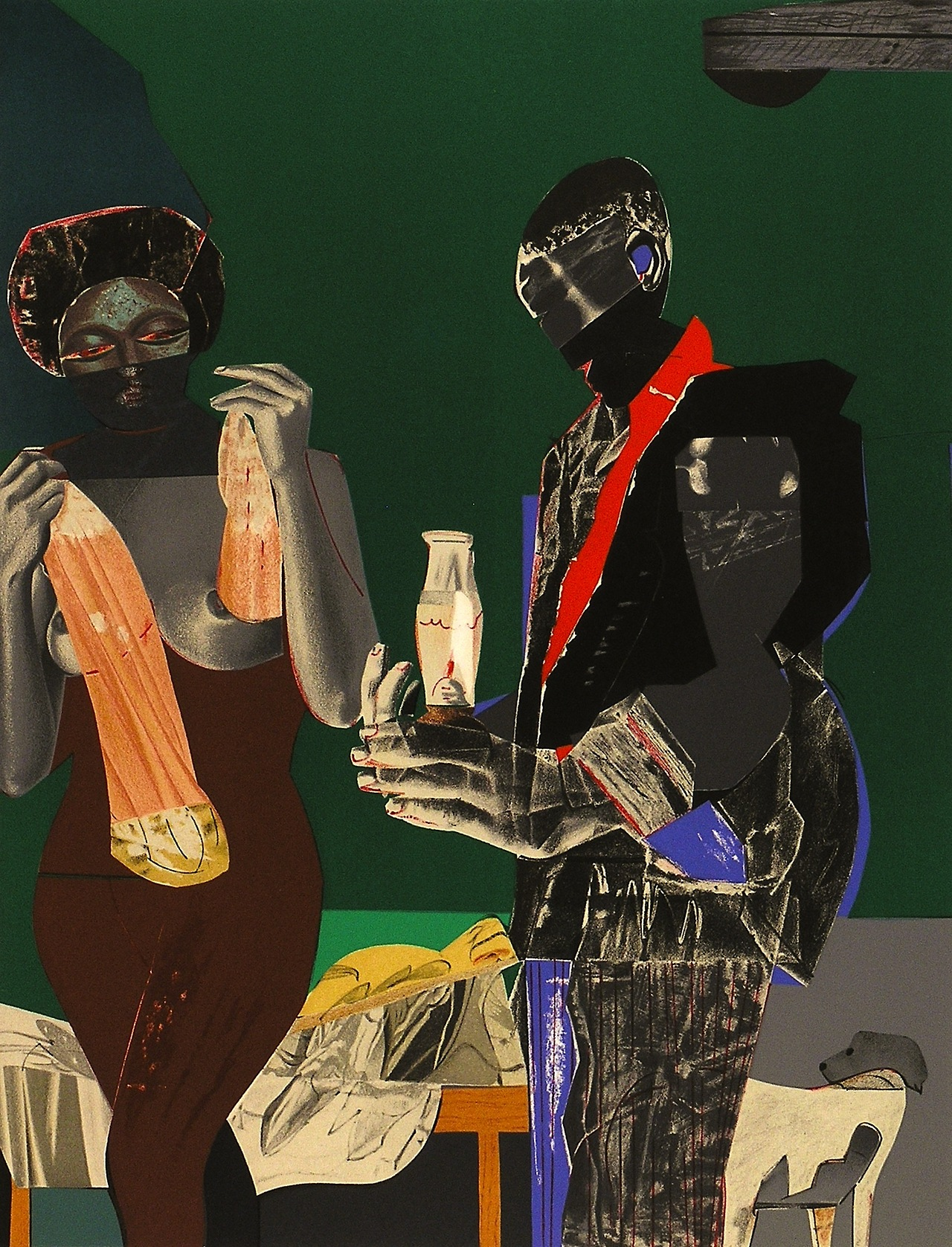 magictransistor :     Romare Bearden, Before the First Whistle (Lithograph), 1973.     Royalty.