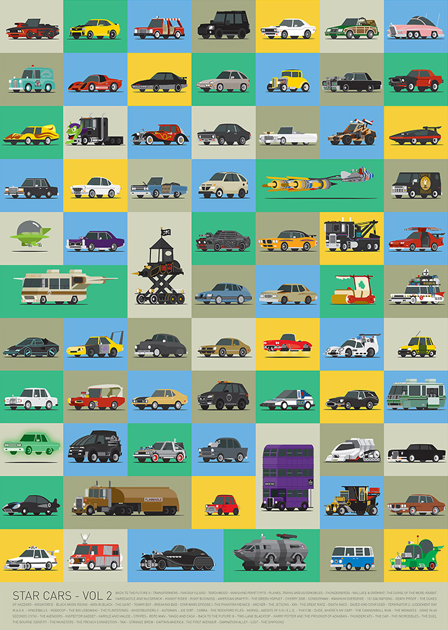 laughingsquid :      Star Cars – Vol 2, A Poster Featuring 71 More Illustrations of Famous Vehicles From TV and Movies      Where's Big Worm's ice cream truck? Hmmmm.