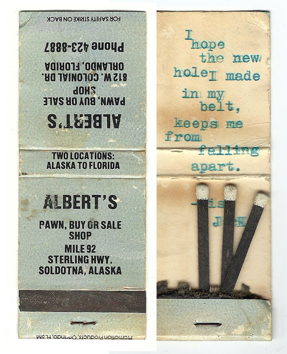 tumblropenarts :      Artist Name:  BISON JACK    Tumblr:  http://bisonjack.tumblr.com/     Matchbooks and poetry…two loves, marry.
