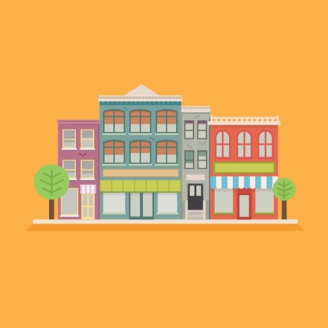 juliencoppola :     Town illustration fun #illustration #flatdesign #dribbble by nuddsey  http://ift.tt/1gvjkOh       The grey house is mine. But soon, I'll be living in the blueish-green one. Above the cafe. So much procrastination going out right, sheesh.