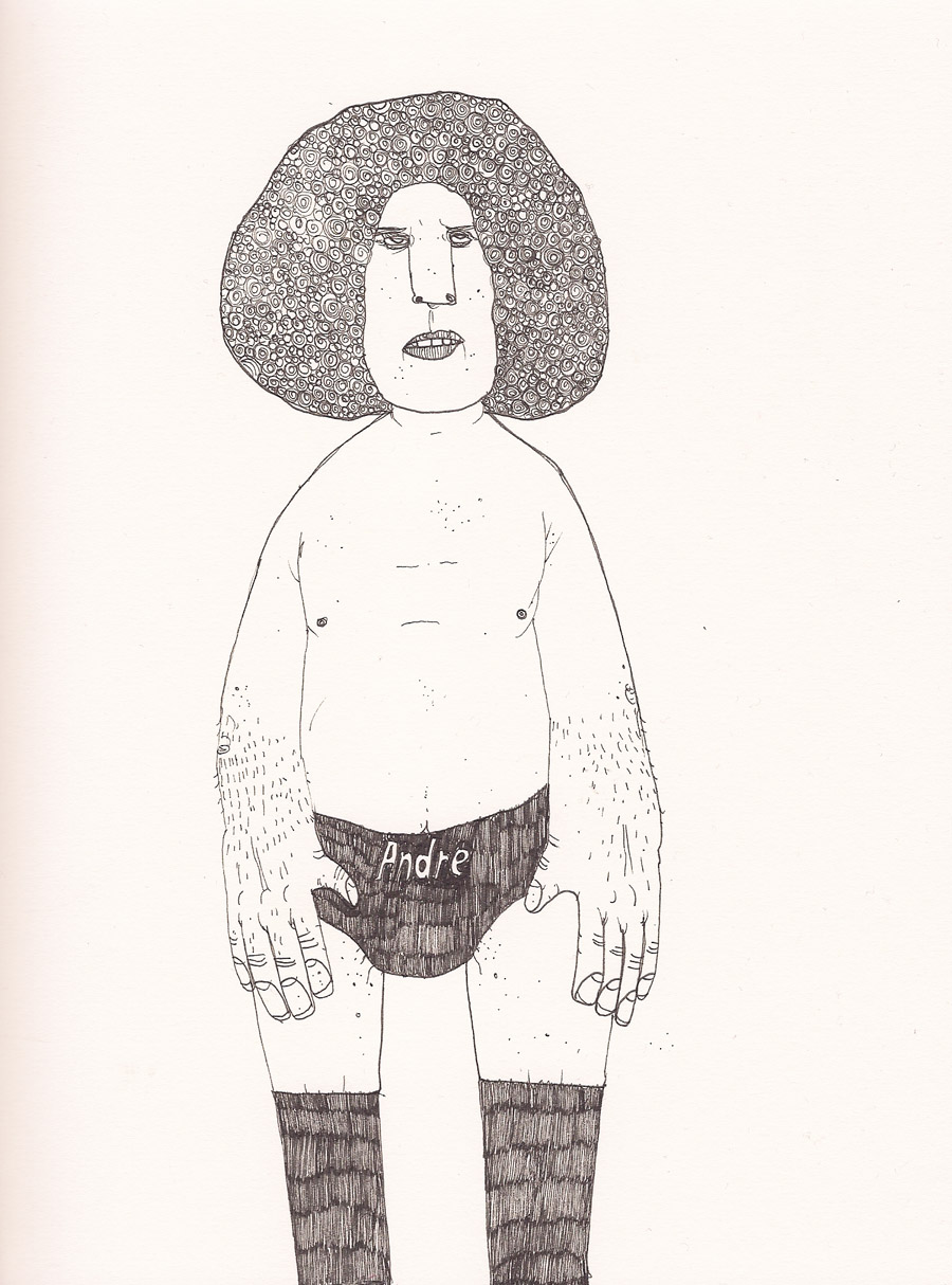 tinkerd :      davidsdrawingaday :      170. 'Andre The Giant' 17/12/2010      Very happy that my Andre illustration from my   Drawing A Day   project was sold at  The Drawing Room Gallery  in Connecticut.   Hope he's gone to a good home x     As a child, he was Goliath. And I was glad I wasn't David. David, would be Hulk Hogan.