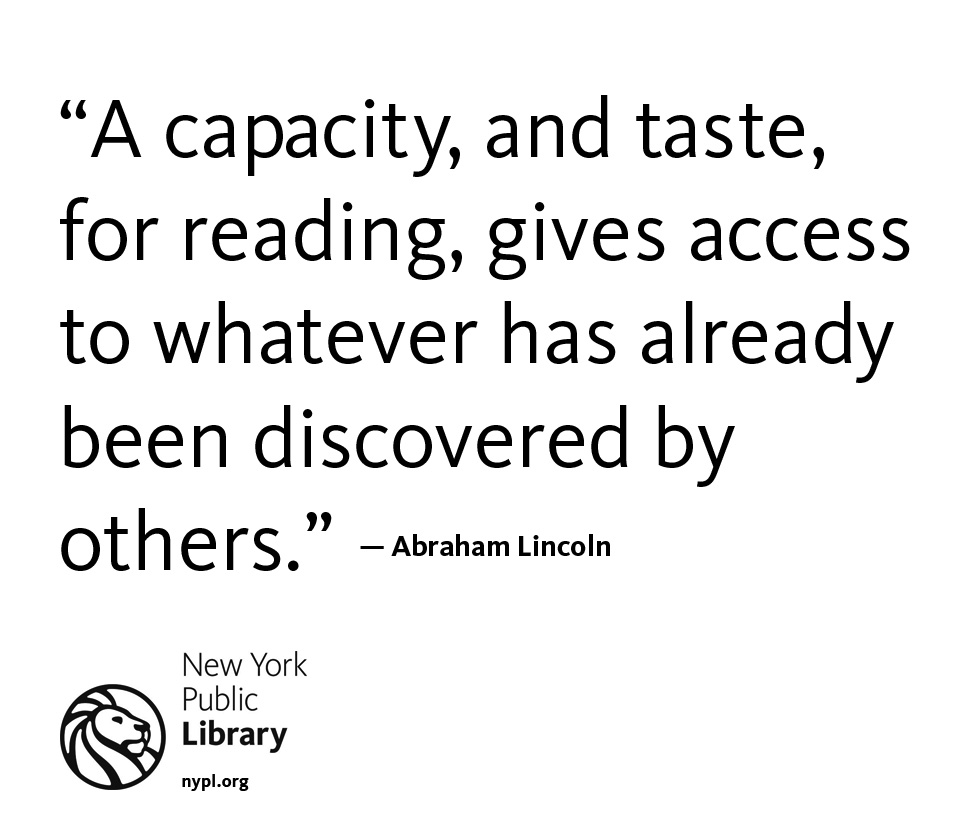 nypl :     A great quote, from a great man, on a great day - the perfect day to find a good book that's been discovered by others. In fact, we have  a few here to choose from !      Word.