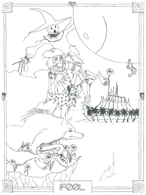 The Fool illustration pre-colorization