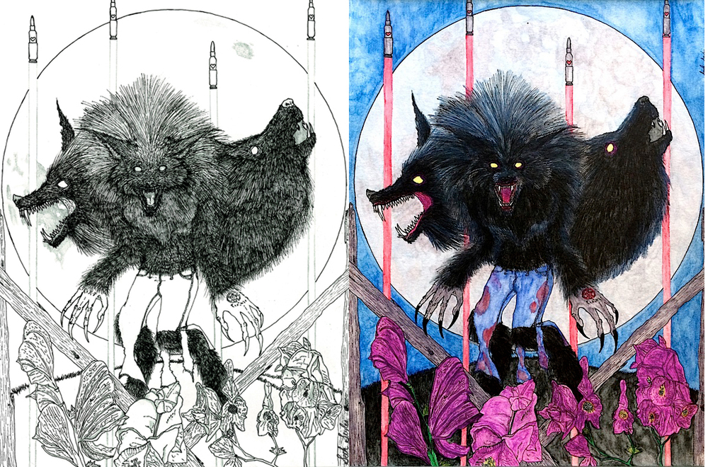 Werewolf before and after his dye job...