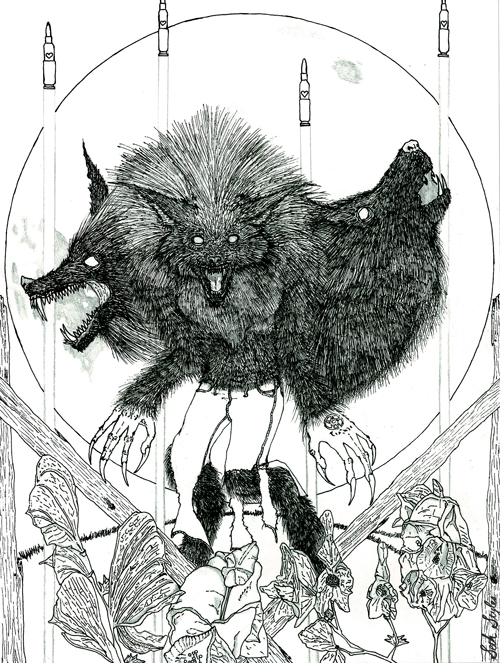 The werewolf pre-coloring...