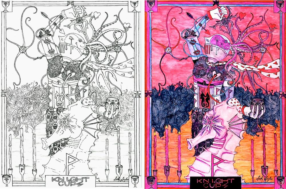 knight-of-cups-tarot-seth-styles-comparison-occult-art-weird-art
