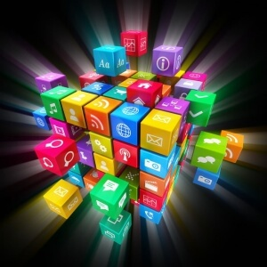Mobile - Social - Web application cube