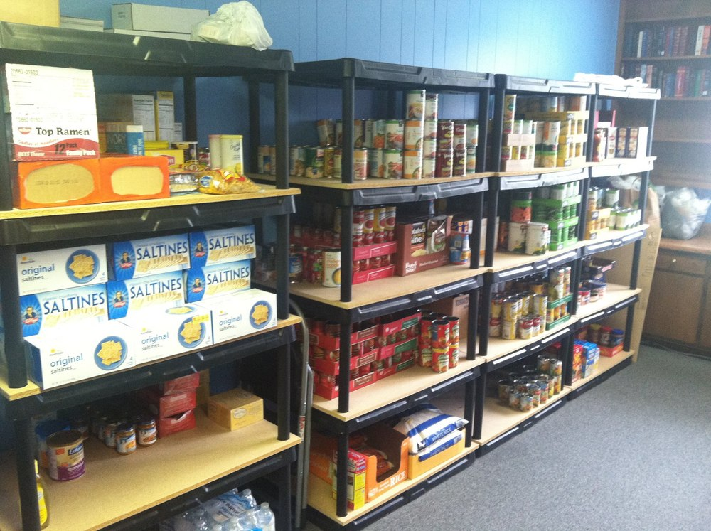 Food Pantry- a wide variety of non-perishable food items: canned meats, canned vegetables and fruits, rice, soups, crackers, and more, the pantry is open Tuesday from 9am to 2pm.