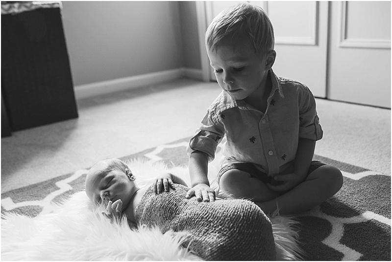 Reston, VA newborn photographer, Kristin Cornely, documents Baby Braden's first days home