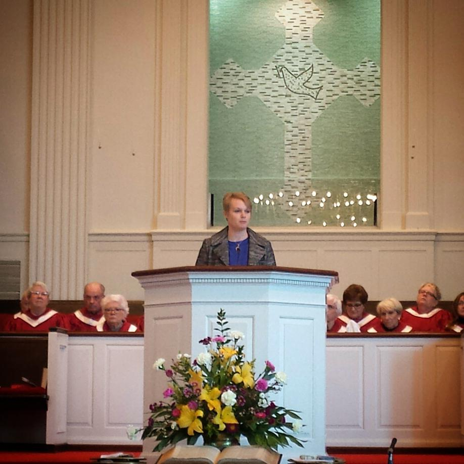 Megan Pike preaching at Pulaski Heights Baptist Church in Little Rock in 2016.