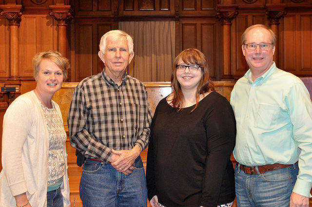 L-R: Megan Pike, CBFAR Associate Coordinator; Roy Runyan, member of First Baptist Church Jonesboro, AR; Linsey Addington, native Arkansan and current student at McAfee School of Theology; and Ray Higgins, CBFAR Coordinator. Pictured in the sanctuary of Calvary Baptist Church, Washington, D.C.