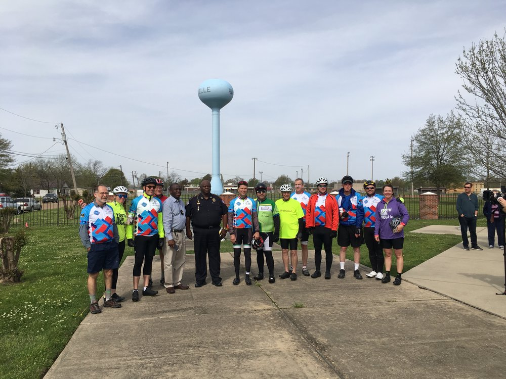 Riders with local officials at Hamer Park, Ruleville, MS.
