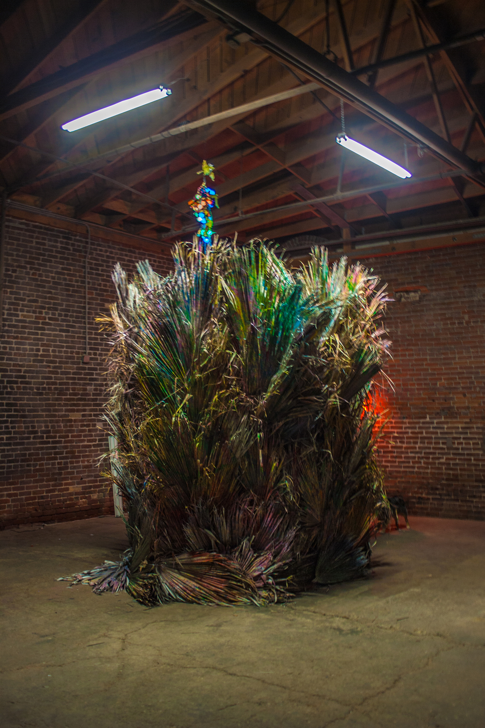 Morgan Gillio, California Highs, 2014  Palm fronds, neon, cotton and wood  Various dimensions