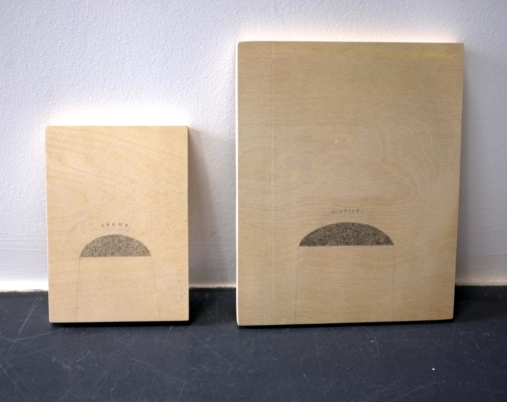 Devendra Banhart  Round Monument / Midnight Monument, 2014  Pencil on wood panels  7 x 5 inches and 10 x 8 inches
