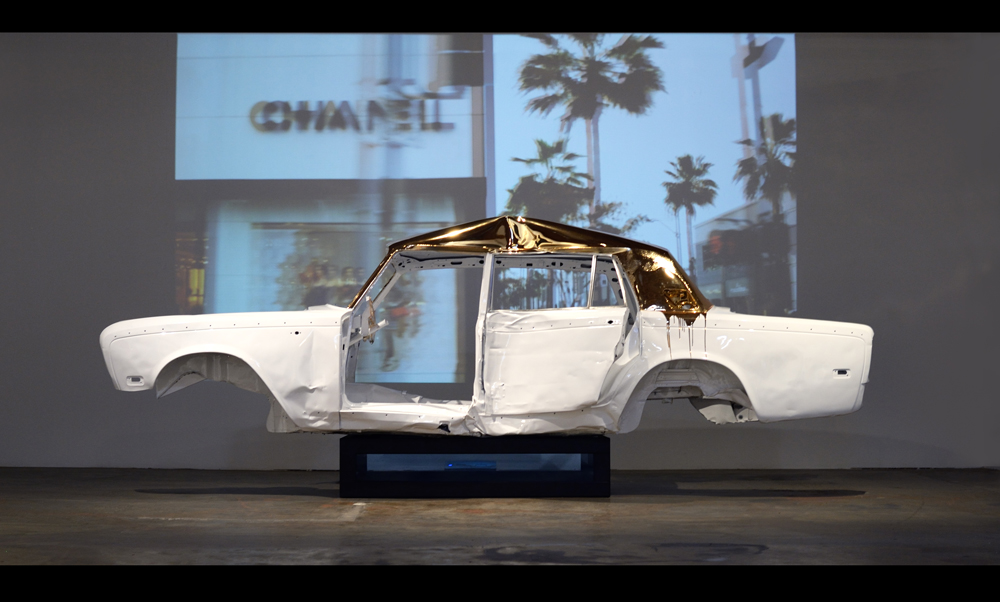 Rodeo Drive, 2015, 1979 Rolls Royce with 11:16 single channel video, 57 x 183 x 63 inches (145 x 465 x 160 cm), unique