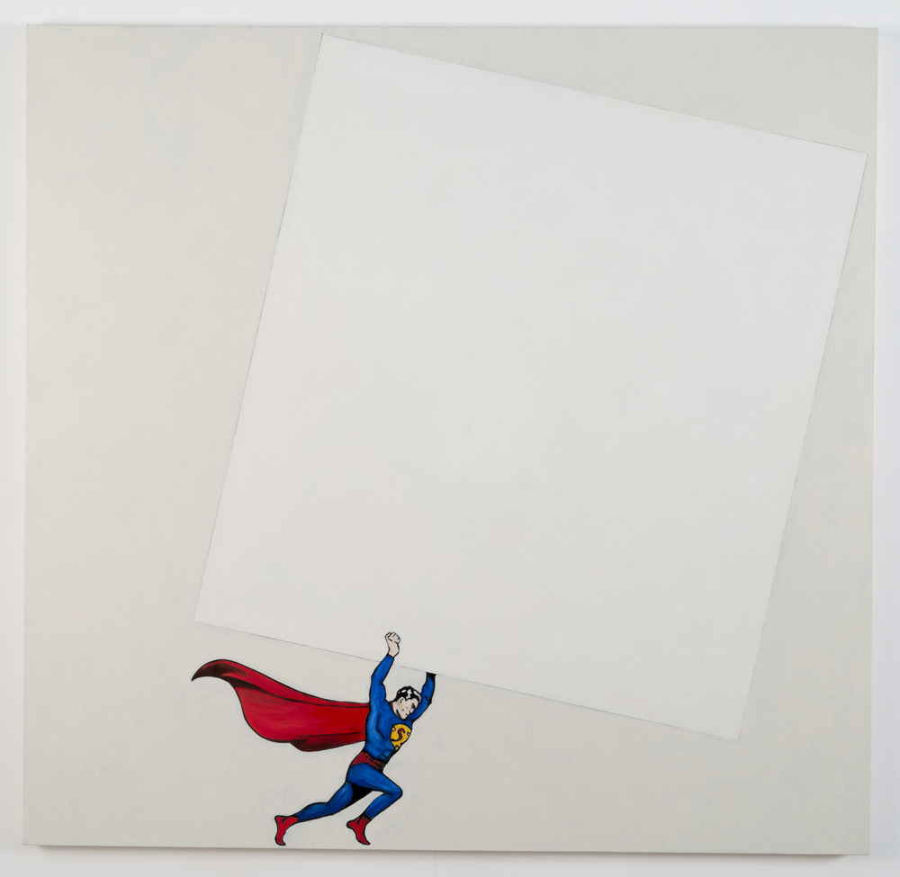 After Malevich (w/Superman), 2012  Oil on canvas  64 x 66 inches