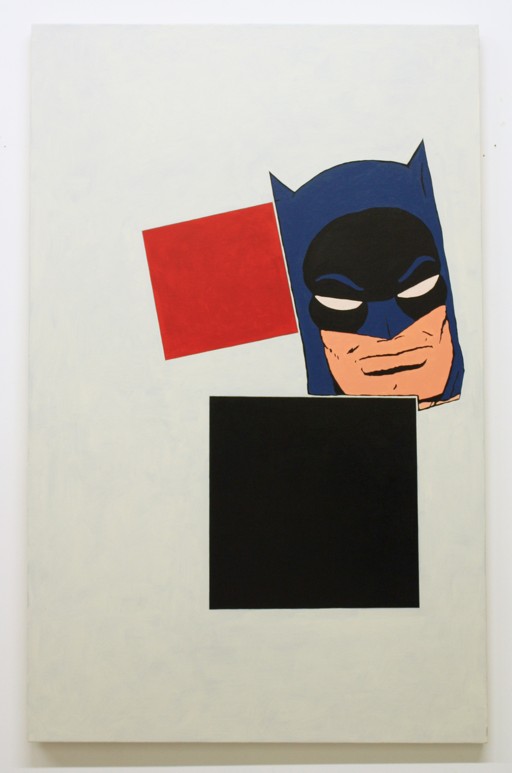 After Malevich (w/Batman's Head), 2012  Oil on canvas  5 x 30 inches