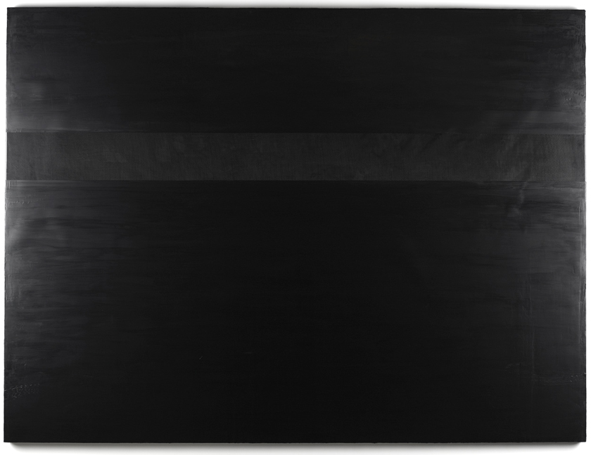 Black Friday, 2015, Acrylic and carbon fiber on canvas and cradled wood panel, 89 x 120 inches (226 x 305 cm), unique